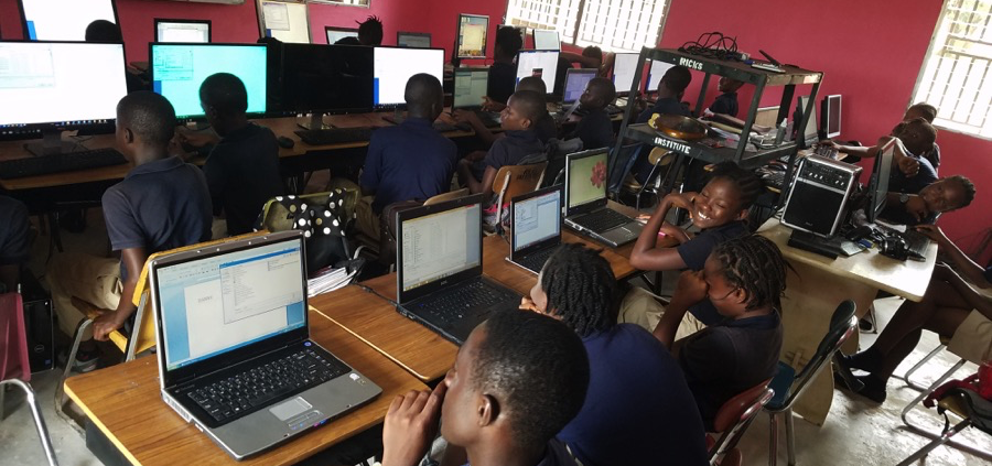 Ricks-Students-Using-computers donated by Mercer IT Field Support
